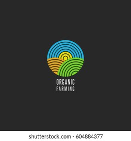 Organic farm logo round shape abstract line style agricultural landscape icon, sky, sun, field, grass for environmental emblem