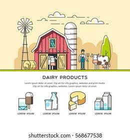 Organic farm. Milk and dairy products icons for web and graphic design. Vector illustration.