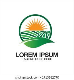 Organic farming logo vector illustration design,natural product icon .Farm logo template.Abstract Organic Agriculture Logo Template. Vector illustration