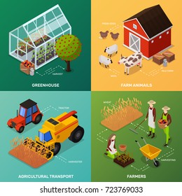 Organic farming products isometric icons 2x2 design concept with four compositions of farmers vehicles and buildings vector illustration