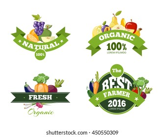 Organic farming products vector labels, emblems, badges, logos, stickers set. Organic food emblem and badge organic natural fruits and vegetables illustration