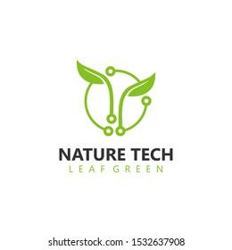 Organic farming technology logo design - eco nature green leaf