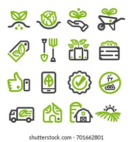 organic farm,organic vegetable thin line icon