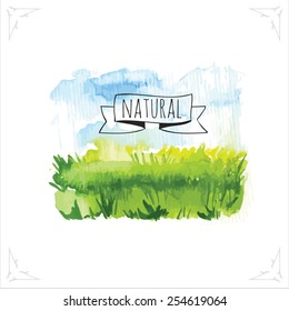 Organic farms. Watercolor picturewheat field with the sky. Vector illustration of nature.