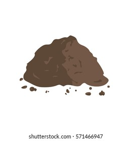 Organic fertilizer. Pile of ground or compost. Vector illustration flat design
