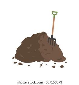Organic fertilizer. Pile of ground, manure or compost with hayfork. Vector illustration flat design