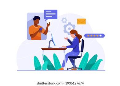 Organic flat customer support illustration Vector illustration.