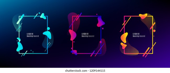 Organic fluid shape frame set. Color abstract liquid design with other geometric elements lines, dots isolated on dark background. Vector illustration.
