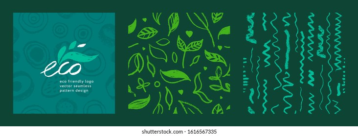 Organic food background for eco store. Eco-friendly icons set. Natural logo elements. Bio labels. Organic banner template for healthy design. Vector leaves pattern seamless. Agriculture growth logo.