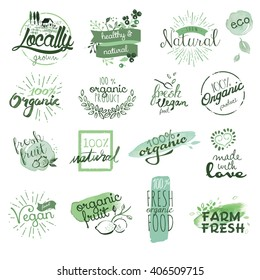 Organic food badges and elements. Hand drawn watercolor vector illustration set for food and drink, restaurant, natural products.