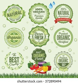 Organic Food Badges, Labels and Elements.