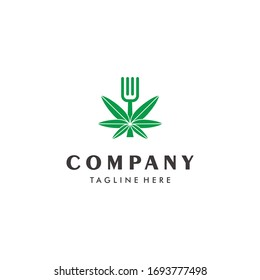 Organic food cannabis leaf and fork logo design icon inspiration