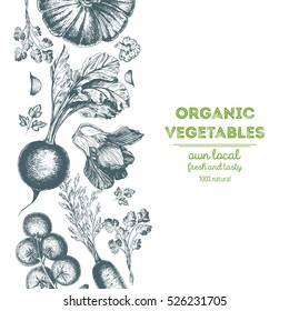 Organic food card design. Farmers market menu design. Organic food poster. Vintage hand drawn sketch vector illustration. Linear graphic