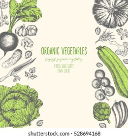 Organic food card design. Farmers market menu design. Organic food poster. Vintage hand drawn sketch vector illustration. Linear graphic.