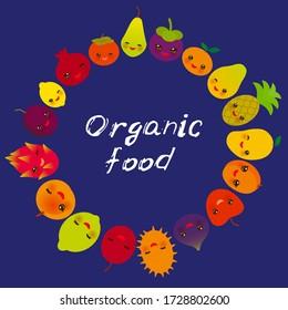 Organic food, cute funny kawaii fruit Pear Mangosteen tangerine pineapple papaya persimmon pomegranate lime apricot plum dragon fruit figs mango peach lemon lychee apple kiwano on blue. Vector