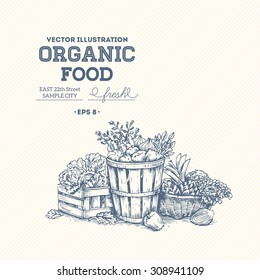 Organic food design template. Healthy eating background. Vector illustration