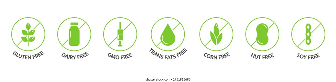 Organic food and drink labels. Food dietary. Product free allergen line icons. Natural products green stickers. Food intolerance. Healthy eating. GMO free emblems. Vegan, bio. Vector illustration.
