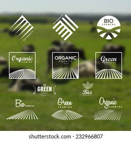 Organic food, eco, bio farming, green labels and icons set. Blurry background of an Agriculture field landscape. Vector Organic products design.