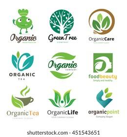 Organic Food and Ecology Logo Set