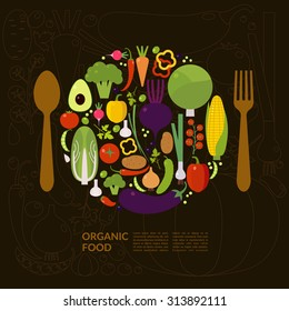 Organic food. Elements and icons for cards, illustration, poster and web design. vector EPS 10