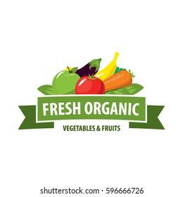 Organic food emblem and badge