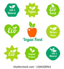 Organic food, farm fresh and natural product stickers and badges collection for food market, ecommerce, organic products promotion. Stamp Illustration.