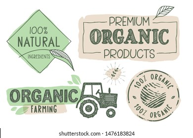 Organic food, farm fresh and natural product labels and stickers collection. Vector illustration for food market, e-commerce, restaurant, healthy life and premium quality food and drink promotion.