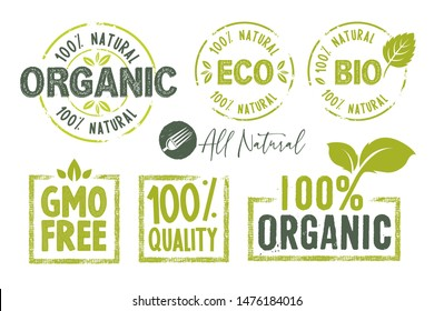 Organic food, farm fresh and natural product stickers and badges collection. Vector illustration for food market, e-commerce, restaurant, healthy life and premium quality food and drink promotion.
