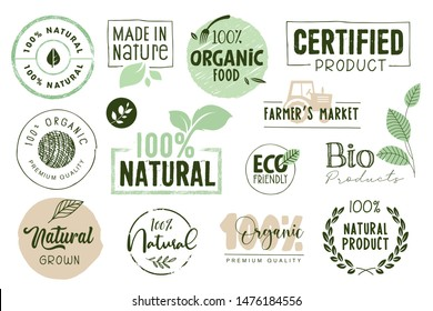 Organic food, farm fresh and natural products labels and elements collection. Vector illustration for food market, e-commerce, restaurant, healthy life and premium quality food and drink promotion.