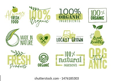 Organic food, farm fresh and natural products signs and labels collection. Vector illustration for food market, e-commerce, restaurant, healthy life and premium quality food and drink promotion.