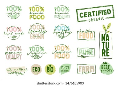 Organic food, farm fresh and natural products signs collection. Vector illustration for food market, e-commerce, restaurant, healthy life and premium quality food and drink promotion.