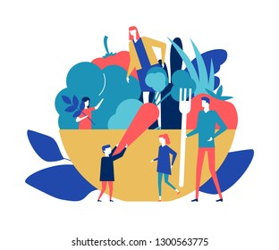 Organic food - flat design style colorful illustration. A composition with male, female characters, family, a big plate of vegetables, vegetarian salad, carrot, pepper, greens. Healthy lifestyle