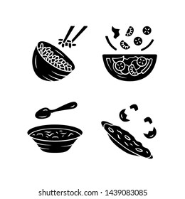Organic food glyph icons set. Rice, vegetables, eggs. Salad, soup, omelett. Healthy nutrition. Dinner, supper restaurant menu. First, second course. Silhouette symbols. Vector isolated illustration
