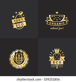 Organic food gold logo vintage vector set. Hipster and retro style. Part four.