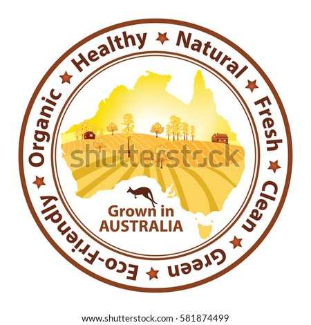 Buy Map Of Australia.Organic Food Grown Australia Buy Fresh Stock Vector Royalty Free