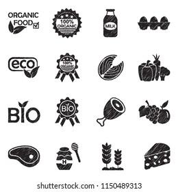 Organic Food Icons. Black Scribble Design. Vector Illustration.