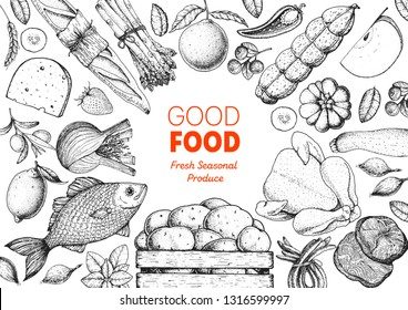 Organic food illustration. Farmers market design elements. Hand drawn sketch. Various food frame. Good food store concept.