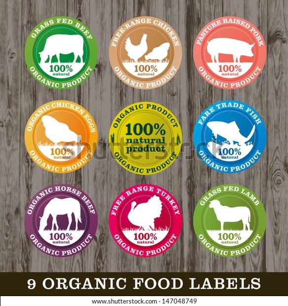 Etiquetas de alimentos orgánicos