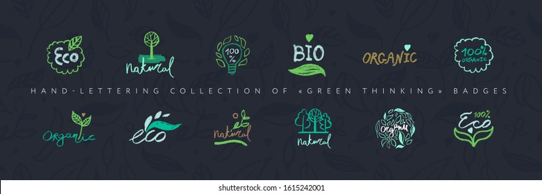 Organic food labels. Hand-lettering collection of Green Thinking badges. Healthy food icons, floral pattern background, herb ornament seamless. Trendy vector farm logo, bio concept, natural cosmetics.