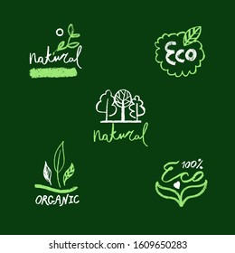 Organic food labels. Natural healthy fresh diet products icons. Green premium vegan badges. Hand lettering. Trendy vector logo for ethical agriculture, bio concept, natural cosmetics, local market.