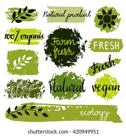 Organic food labels set, bio, eco farm stickers, stamps, icons, logo, frames, distressed, card design isolated calligraphic text, hand drawn