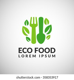 Organic food logo. Eco food icon. Diet icon. Green food icon.