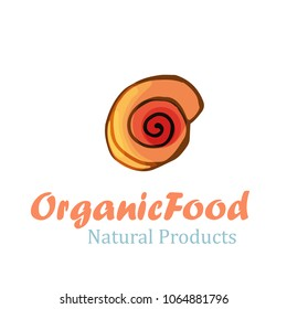 Organic food logo with shell in cartoon style. Vector illustration