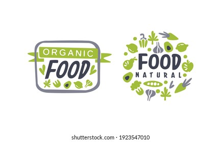 Organic Food Logo Templates Design, Fresh Natural Products, Healthy Life and Premium Quality Vegan Food Vector Illustration
