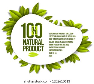 Organic food, natural product badge, 100 percent natural design element, organic products promotion, vector design made in paper cut realistic style.