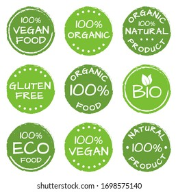 Organic food, natural products icon set. Eco, Bio and Vegan green labels or logos. Gluten free badge. Vector illustration.