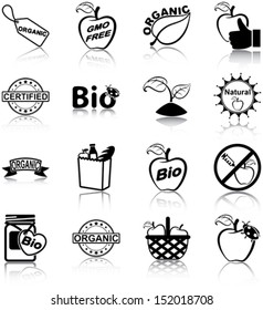 Organic food related icons/ silhouettes.
