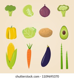 Organic food. Vector illustration, set of vegetables and fruits. Healthy eating