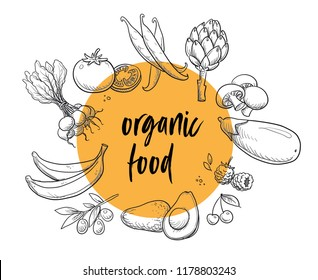 Organic food vegetables and fruits badge or sign, line drawing on colorful transparent circle. With radish, avocado, egg plant, cherries, banana. Hand drawn doodle vector illustration.