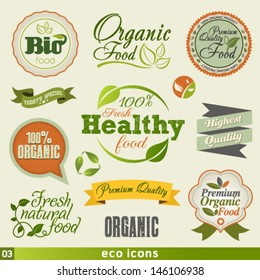Organic Food  Vintage icon Vector Set. Graphic Design Editable For Your Design.